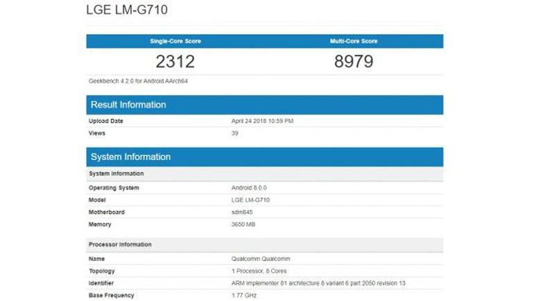 LG G7 ThinQ'nun Benchmark Sonuçları Sızdı