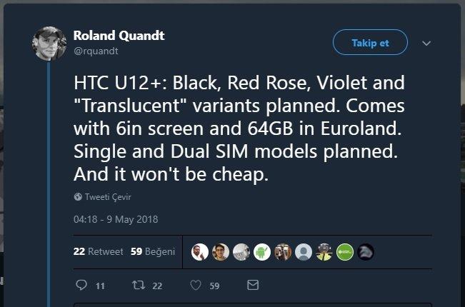 HTC U12 Plus'ın Fiyatı Can Yakacak