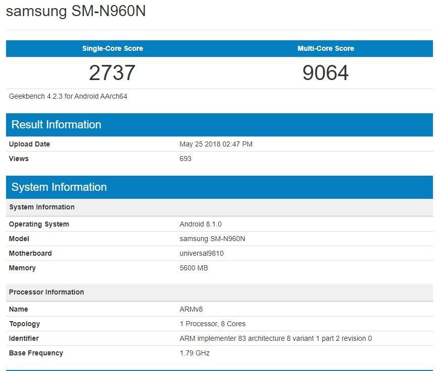 Galaxy Note 9, Exynos 9810 ile Göründü