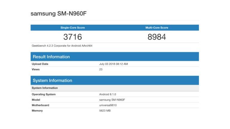 Kilitsiz Note 9, Exynos 9810 ile Test Edildi