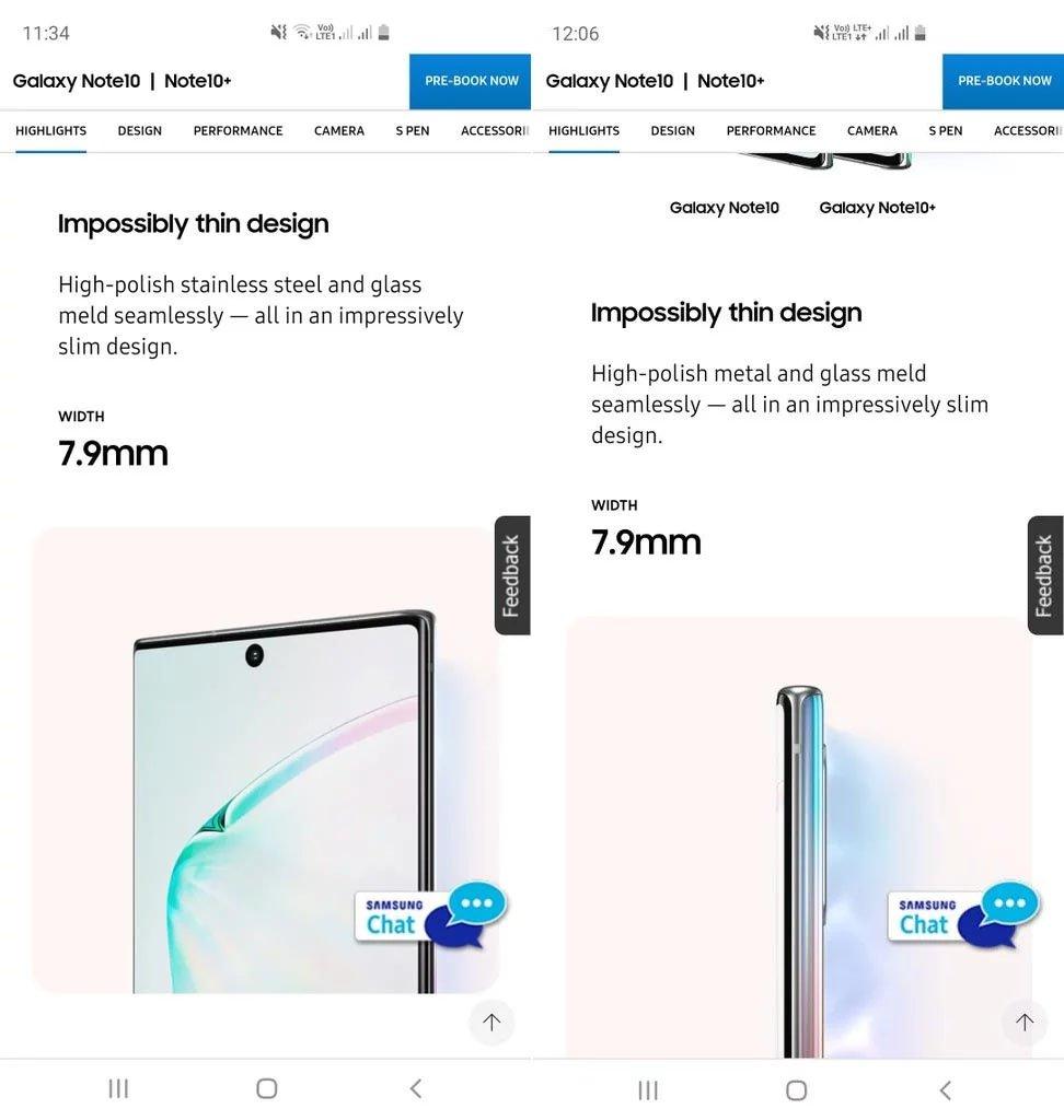 Galaxy Note 10'da Paslanmaz Çelik Çerçeve Gizemi