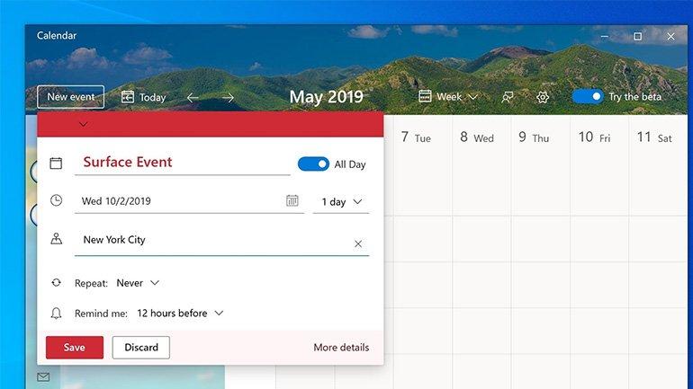 Windows 10'un Takvim Uygulaması Yenileniyor
