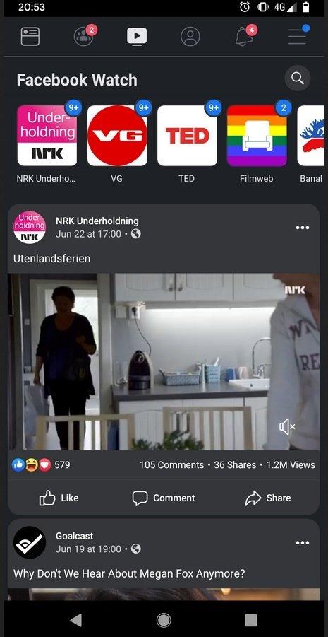 Facebook'un Koyu Modundan Ekran Görüntüsü