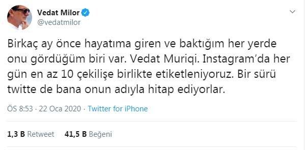 Vedat Milor'un Vedat Muriqi tweet'i sosyal medyanın gündeminde
