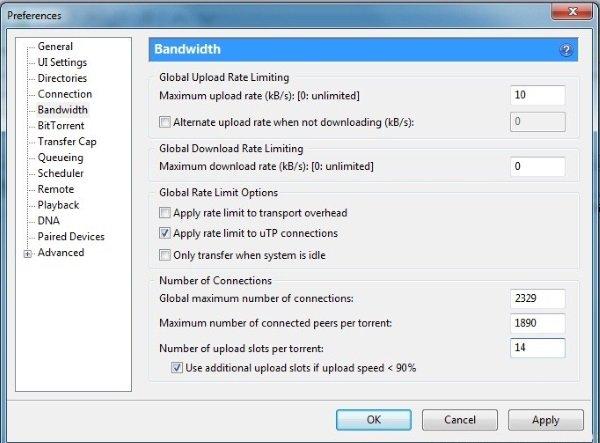 uTorrent'i Hızlandırmak İçin Bant Genişliğini Ayarlayın
