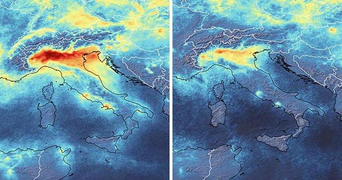 Uydudan şaşırtıcı İtalya görüntüsü! İşte Corona Virüs sonrası değişim!