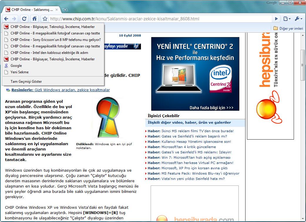 Nasıl Internet Explorer geçmişini görüntülemek için